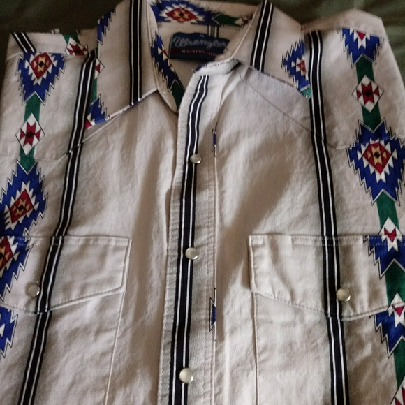 Vintage WRANGLER Western Shirt Pearl Snap Up XL. M_5aac34f73a112efcb2cd54c6